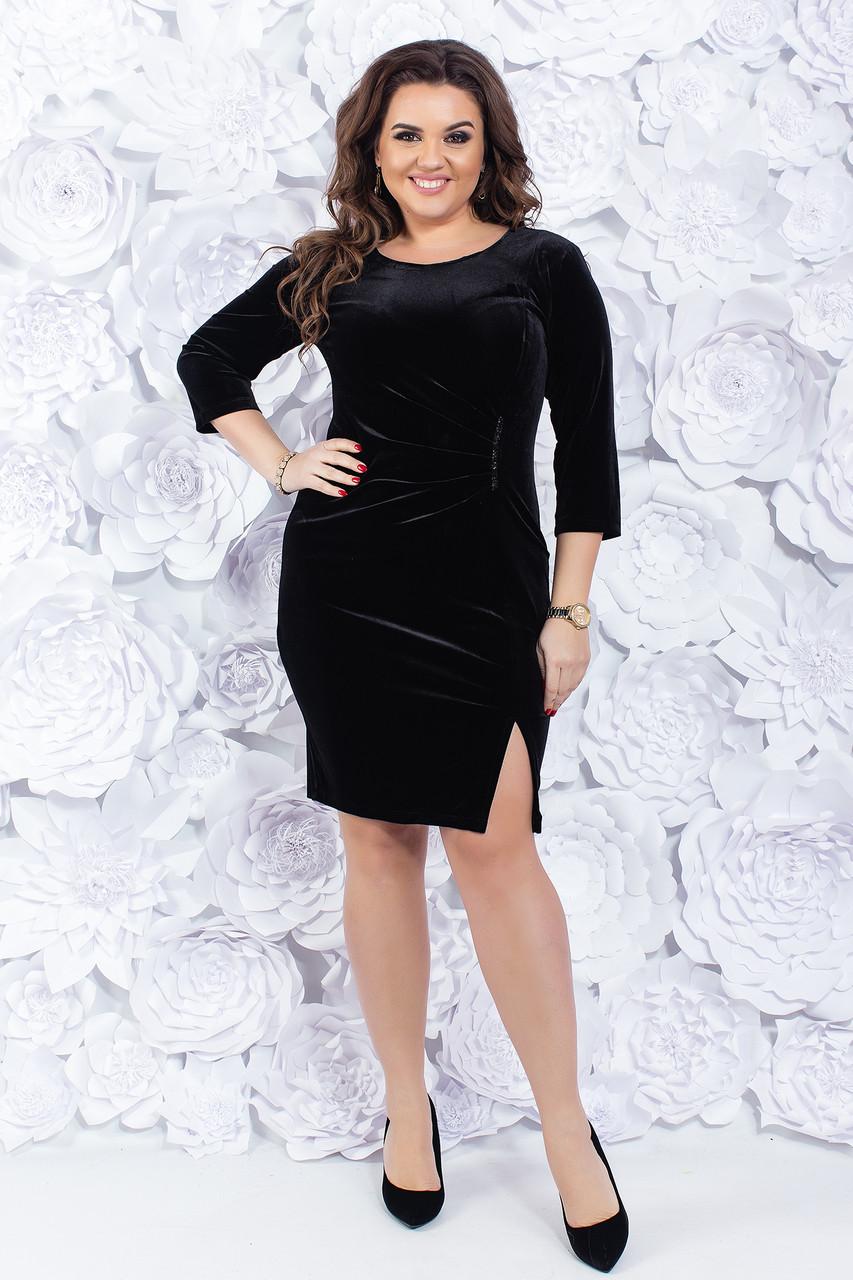 Платье черное с разрезом 48-50 р