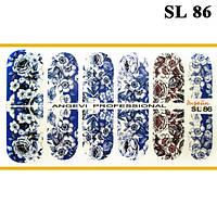Наклейки для Ногтей Ноготки PhotonailArt Водные Angevi SL 86 Белые Цветы на Синем Фоне