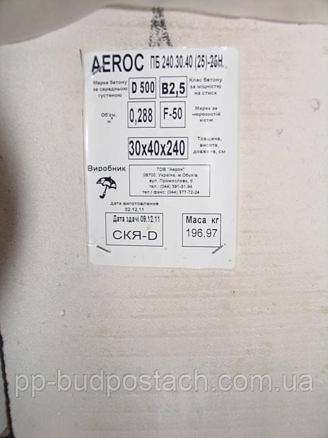 Перемычки газобетонные Аэрок (Aeroc,Аерок)