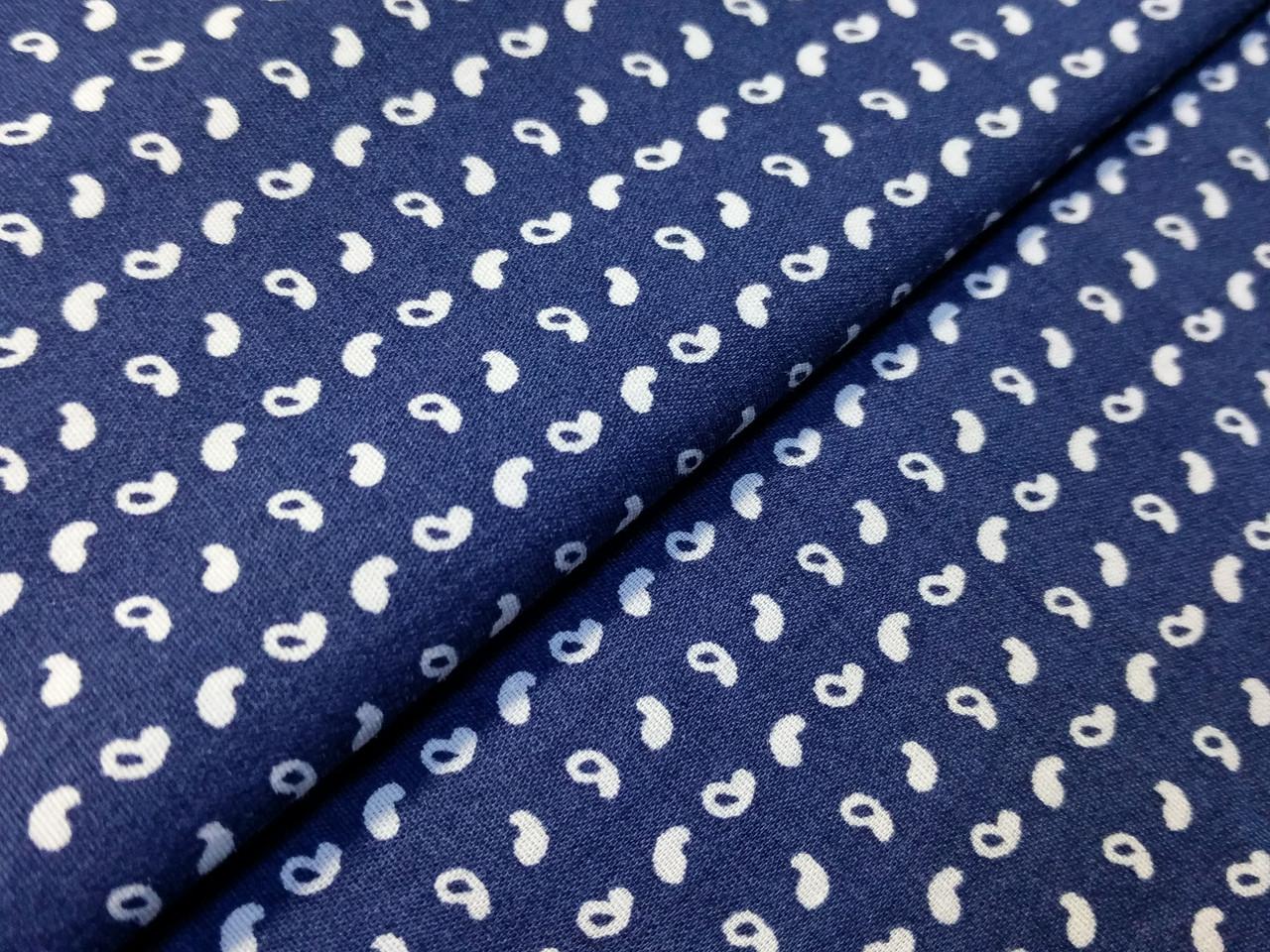 Коттон стрейчевый рубашечный мелкий огурчик, синий