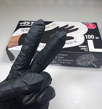 Нитриловые перчатки черные плотные, L - упаковка, 50 пар