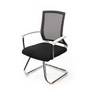 Кресло офисное на полозьях Алор CH CF черного цвета из ткани