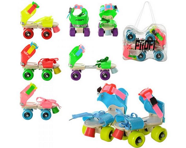 Детские раздвижные квадровые ролики Profi MS 0053