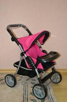 Прогулочная коляска для кукол 9337 малиновая