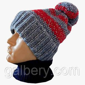 Зимняя шапка бини ручной работы