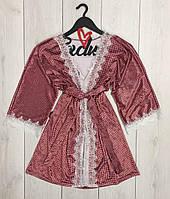 Короткий велюровый халат с кружевом 022, халаты женские.