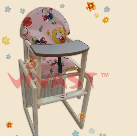 Детский деревянный стульчик-трансформер для кормления, розовый, божьи коровки