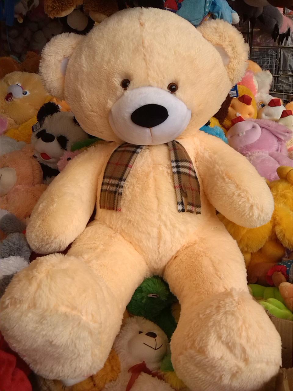 Плюшевый мишка с шарфиком (медведь) Харьков 1,3 метра бежевый