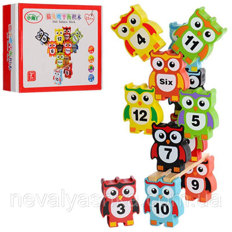 Деревянные игрушки Балансир Совы Баланс Совушки с цифрами Развивающая игра, MD 0954, 003640