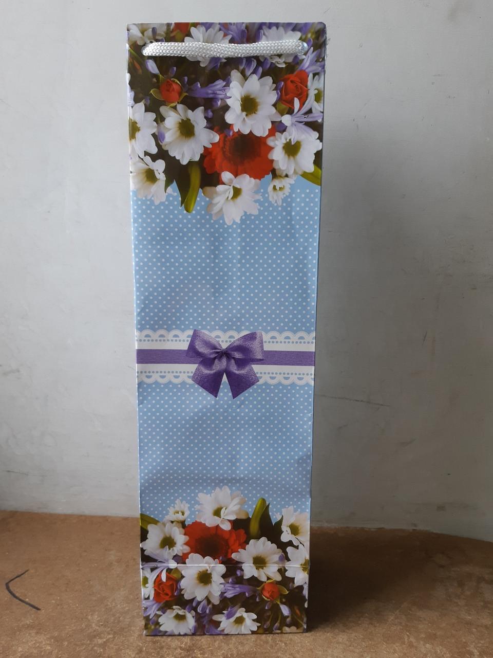 Подарочные бумажные пакеты БУТЫЛКА ''Голубые цветы'' (12*9*36)