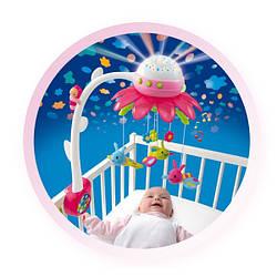 Музыкальный мобиль розовый на кроватку цветочек Cotoons  Smoby (110110)