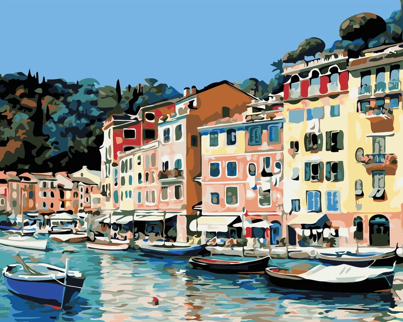 Художественный творческий набор, картина по номерам Итальянский городок, 50x40 см, «Art Story» (AS0373)