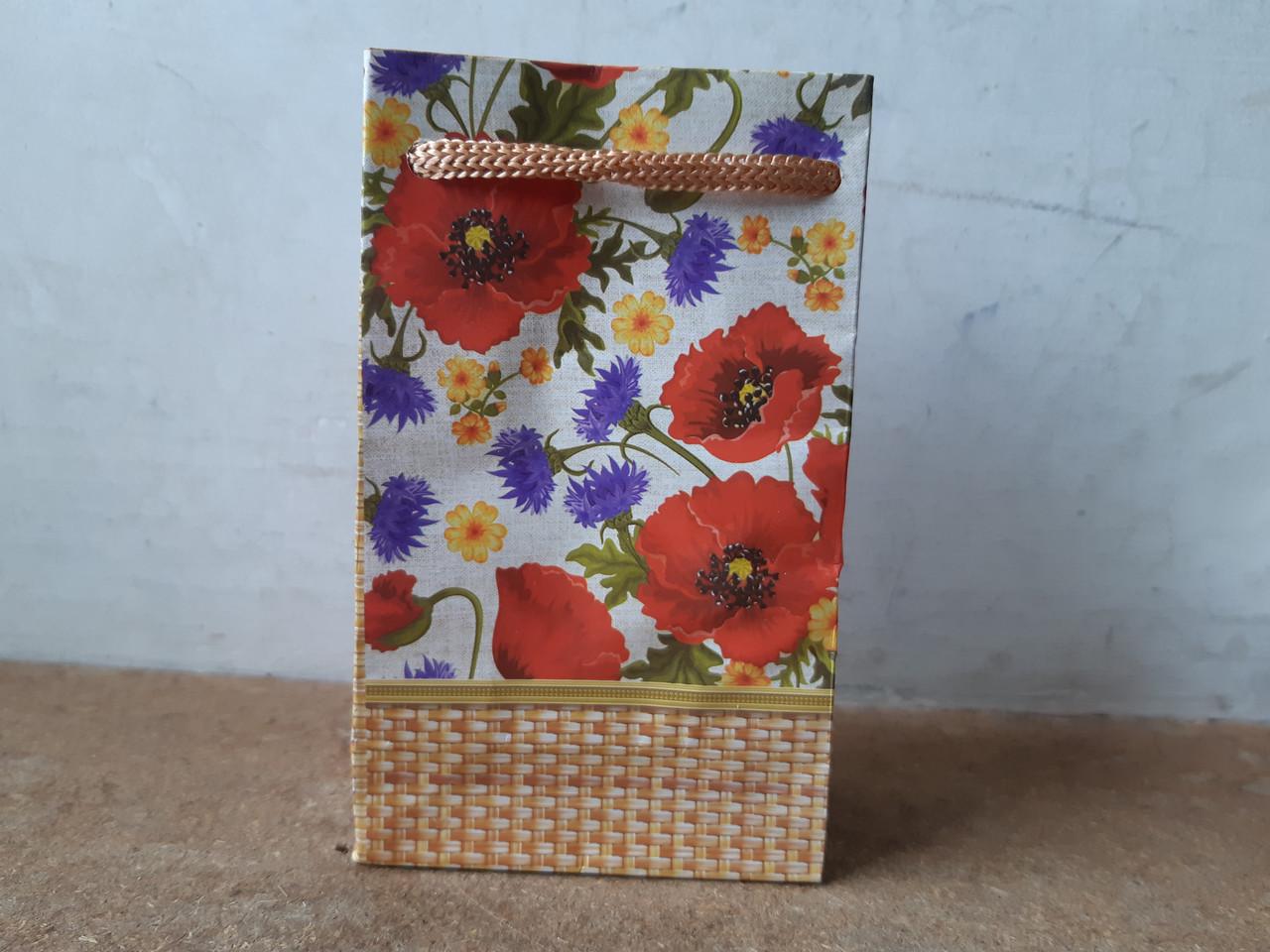 Подарочный бумажный пакет МИНИ 8*12*3.5 см Полевые цветы