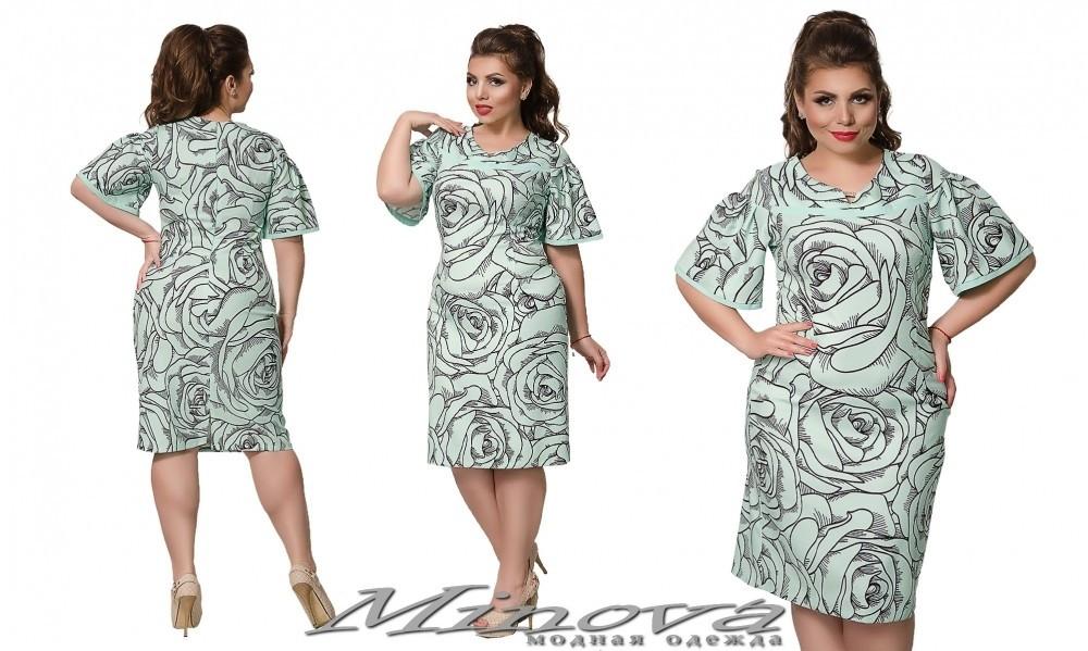 """Изысканное женское платье ткань """"Хлопок+стрейч(костюмная)"""" с цветочным принтом 48, 50, 52 размер батал"""
