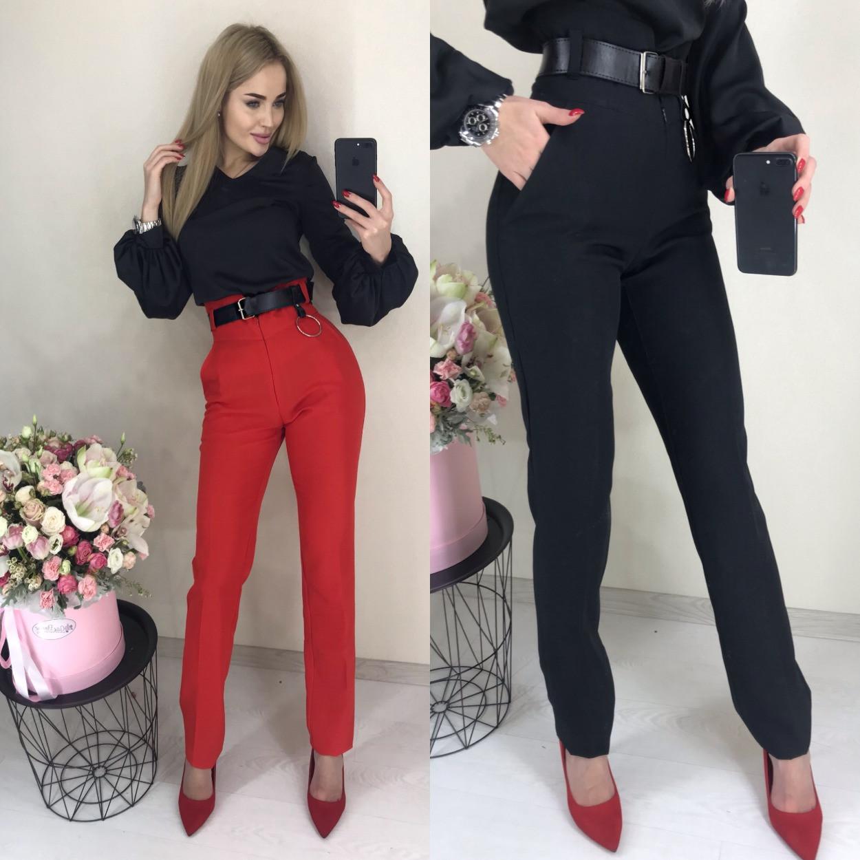 Женские модные брюки с высокой талией ft-2015 (разные цвета, 42-46)
