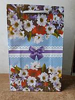 Подарочный бумажный пакет МИНИ ''Голубые цветы'' 8*12*3.5 см