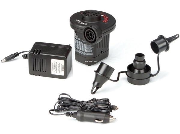 Электрический насос Intex 66632 от сети 220В и от 12В  (разъем прикуривателя в автомобиле).