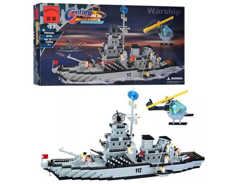 Конструктор Brick 112 Военный корабль, 970дет.