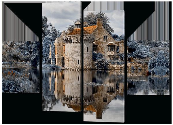 Модульная картина Interno Холст Замок у воды 146x108см (R342L)