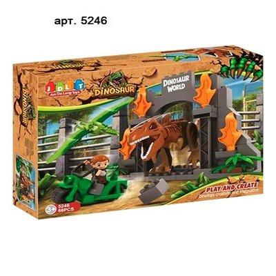 Конструктор JDLT 5246 динозавр, строение, мотоцикл, фигурка, 68дет