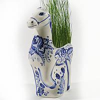 Эколошадь из фарфора, синяя, расписная. Ручная роспись кобальтом.