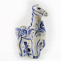 """Карандашница """"Лошадь"""" синяя,расписная,фарфор. Ручная роспись кобальтом"""
