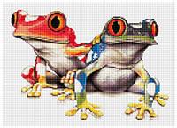 Рисование камнями на холсте Lasko Красочные лягушки (TT012) 38,5 х 28 см
