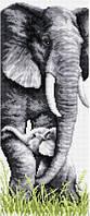 Рисование камнями на холсте Lasko Слониха со слоненком (TT015) 21,5 х 51 см