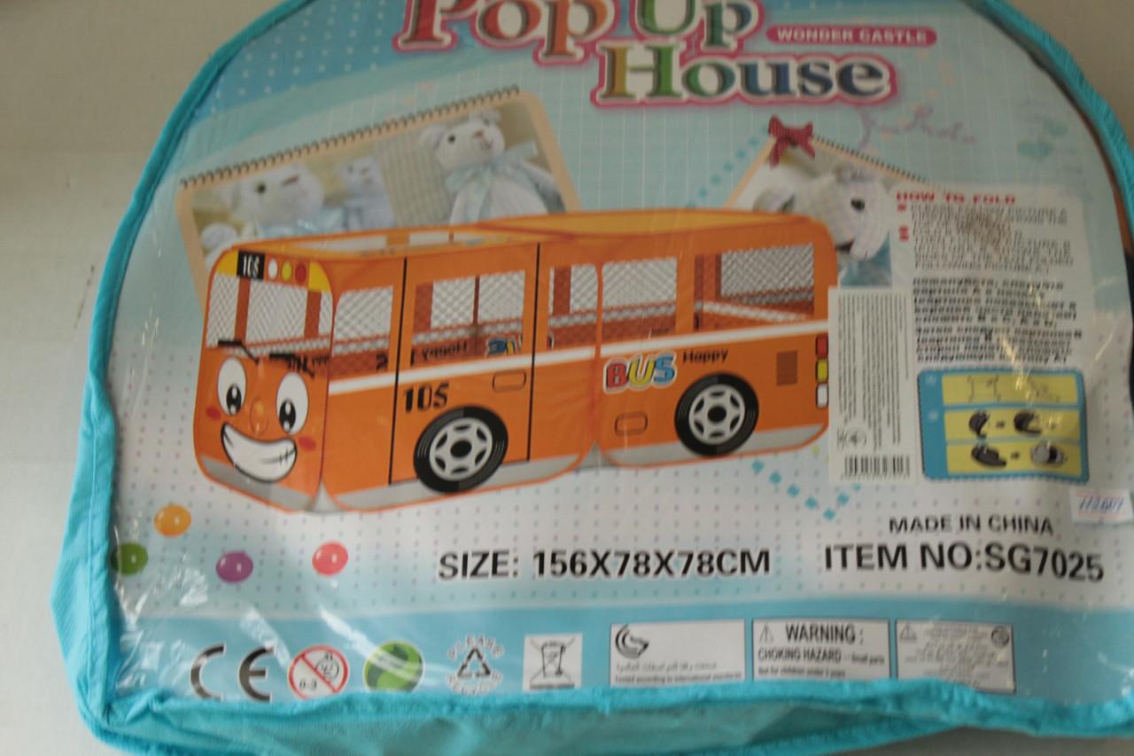 """Детская палатка M 1183 """"Весёлый автобус"""" красный, 156-78-78см"""