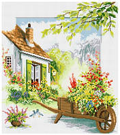 Рисование камнями на холсте Lasko Цветочный дворик (TP011) 46,5 х 53 см