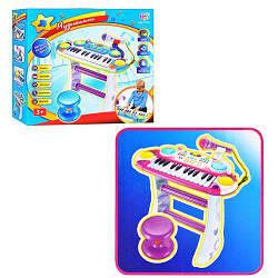 Детский синтезатор 7235 со стульчиком Музыкант на 24 клавиши с микрофоном и стойкой
