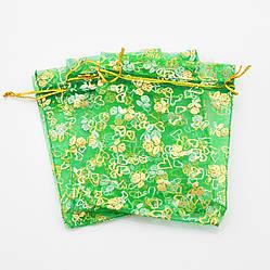 Подарочные мешочки для изделий 10 шт 741172 зеленые с золотыми розами размер 12х10 см