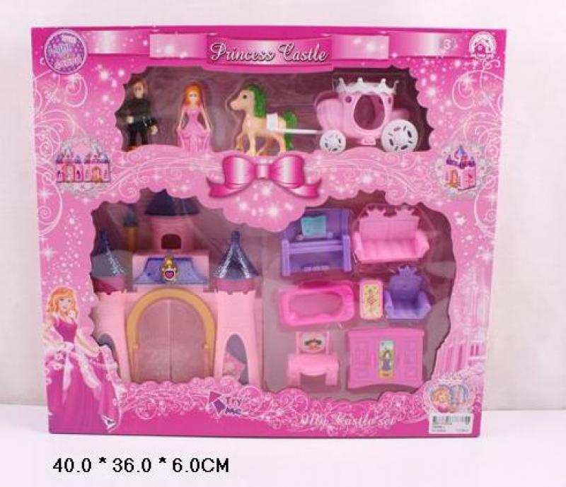 Домик для кукол - Замок принцессы CB688-3 карета, мебель, фигурки, в кор.40*36*6см
