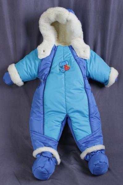 Детский комбинезон трансформер для новорожденных зимний (бирюза с синим)