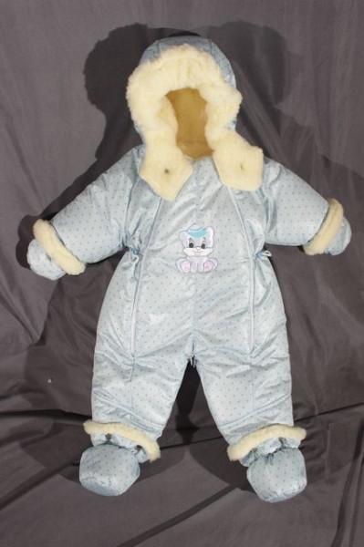 Детский комбинезон трансформер для новорожденных зимний (голубой в горошек)