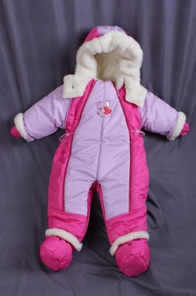 Детский комбинезон трансформер для новорожденных зима (малиновый с сиренью)