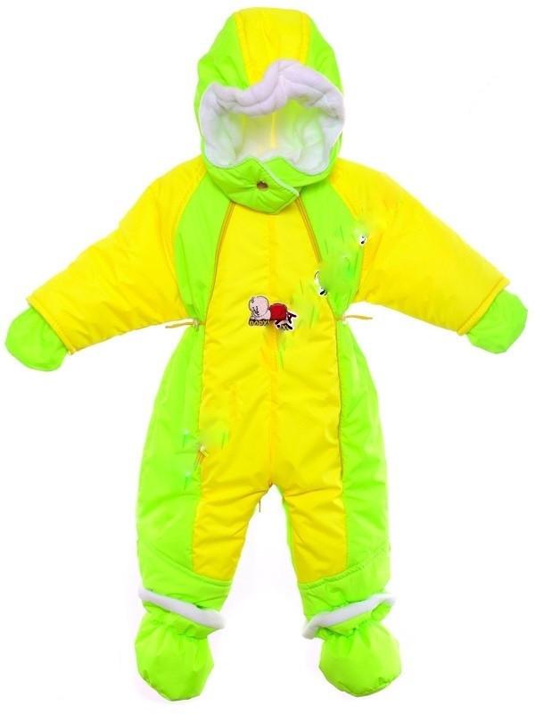 Детский демисезонный комбинезон трансформер (Салатовый с желтым)