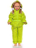 """Детский демисезонный костюм куртка и полукомбинезон """"Ноль-резинка"""" для девочки (зеленый) до 86см"""