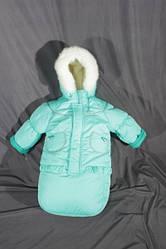 Детский зимний костюм-тройка (конверт-костюм) для девочки бирюзовый