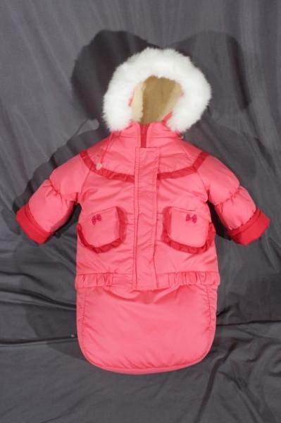 Детский зимний костюм-тройка (конверт-костюм) для девочки коралловый