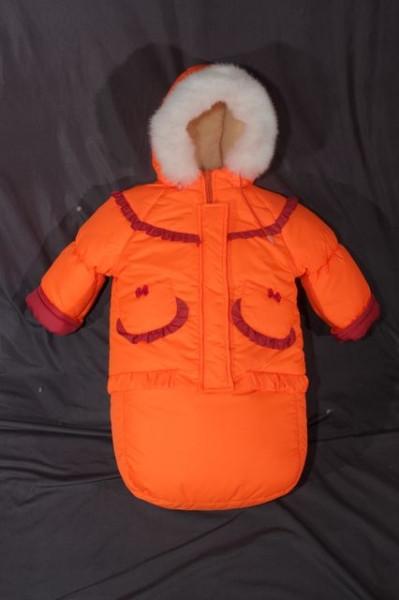 Детский зимний костюм-тройка (конверт-костюм) для девочки оранжевый