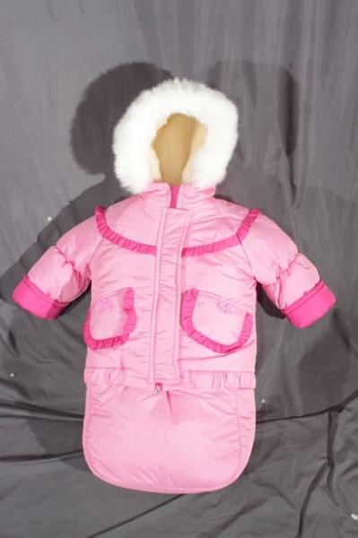 Детский костюм-тройка (конверт-костюм) для девочки розовый