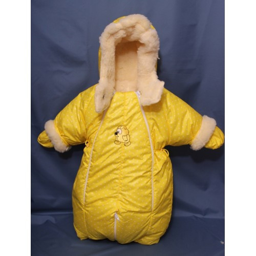Детский комбинезон трансформер для новорожденных зимний (желтый горошек)