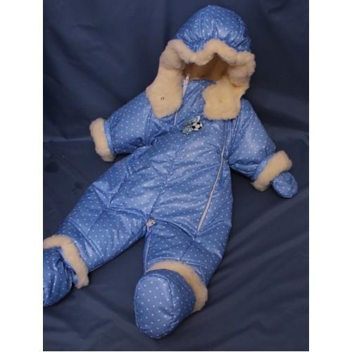 Детский комбинезон трансформер для новорожденных зимний (синий в горошек)