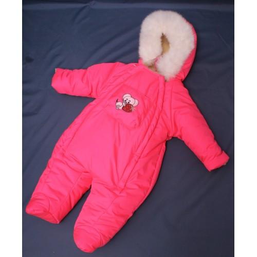 Зимний комбинезон для новорожденных (0-6 месяцев) ярко-розовый