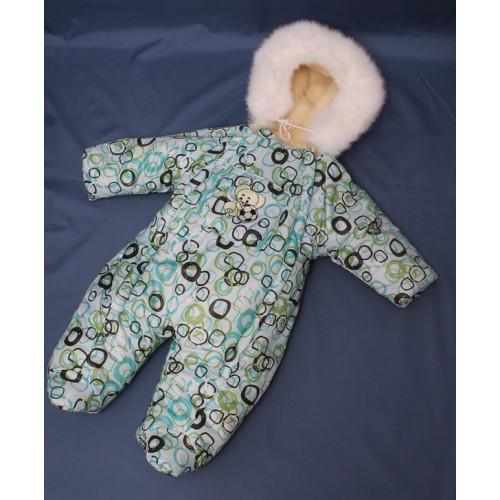 Зимний комбинезон для новорожденных (0-6 месяцев) мятный в квадрат