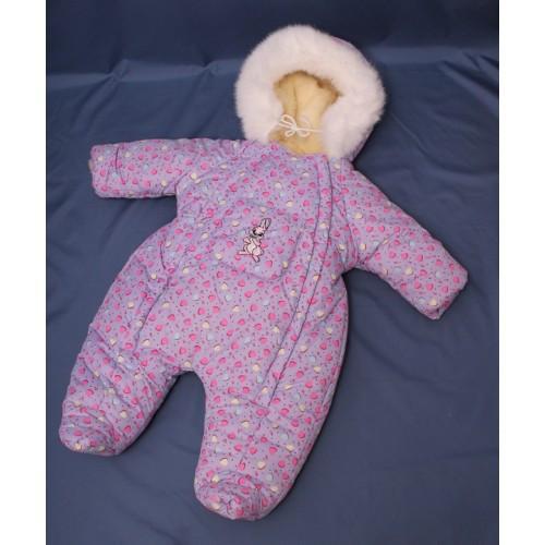 Зимний комбинезон для новорожденных (0-6 месяцев) сиреневый в сердечко