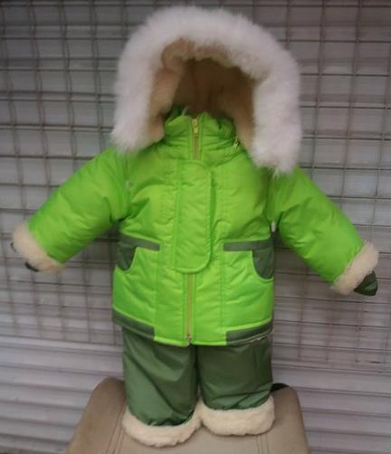 Зимний костюм «Малыш» на сплошном меху (от 6 до 18 месяцев) салатовый