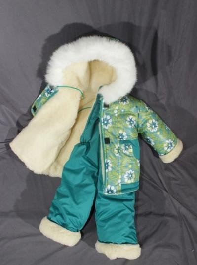 Зимний костюм «Малыш» на сплошном меху (от 6 до 18 месяцев) зеленый в звездочку