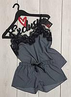 Пижамный комплект майка с кружевом и шорты 085-1-полоска, пижамы женские.